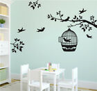 Tree Bird Cage Home Decal Art Wall Stickers Bedroom Decoration Removable DIY