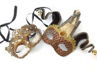 Couples Beige Masquerade Jester Eye Mask Pair Renaissance Antique Costume Party