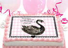 Black SWAN lake baby shower first 1st birthday Party Cake Decoration icing sheet