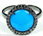 American Sleeping Beauty Turquoise 925 Sterling Silver Black Rhodium Ring sz 6-9