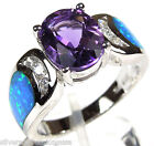 2.50 ct Amethyst & Blue Fire Opal Inlay 925 Sterling Silver Ring size 6-8