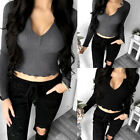 Casual Fitted Long Sleeve Sweater Womens V-neck Knitwear Pullover Jumper Tops
