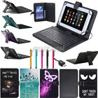 "US For 7"" - 8"" Tablet Print PU Leather Stand Cover Case Micro USB Keyboard Gift"