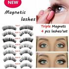 Triple Magnetic Eyelashes 4Pcs Reusable Full Eye False Eye Lashes Extension Nice