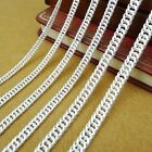 New Real S999 Sterling Silver Chain Women Men Carved Curb Link Necklace 18inch