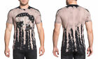 Affliction Men's AC Two Stroke Stitch Tee Shirt Black Valor Bleach Dripped Wash