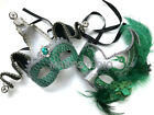 Green Masquerade Jester Metal Eye Mask Pair Feather St Patrick Dress up Party