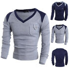 Mens Soft Casual Fashion Jumper V-Neck Sweater Knitwear Pullover Tops M/L/XL/2XL