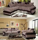 New Quality Jumbo Cord Dino Corner Sofa Footstool or 2 + 3 Seater Beige / Brown