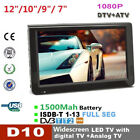 "Portable 7""-12"" 16:9 TFT LED HD HDMI Car Television Digital Analog TV Player HL"