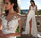 Sexy White Ivory Long Side Split Lace Wedding Dress Beach Bridal Gown Custom