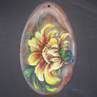 Hand Painted Flower Agate Slice Gemstone Bead Necklace Pendant D1709 0070