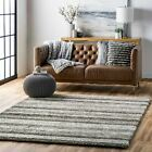 nuLOOM Hand Made Modern Stripes Plush Shag Area Rug in Grey and White Multi