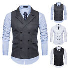Mens Business Vest Slim Strips Formal Double-breasted waistcoat Jacket Tops Suit