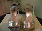 MICHAEL KOS ROSE GOLD STRAPPY HEELS W /MICHAEL KORS SHIELD PLATE SZ 6.5