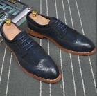 Mens Oxford Brogue Wing Tip Carving Lace Up Shoes Dress Formal Costume Chic New