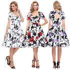 Women Vintage Retro Floral Pinup 50/60s Housewife Party Swing Homecoming Dress Q