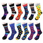 Gelante Men's Dress Socks Funky Fashion Casual Cotton 12 Pairs size 10-13