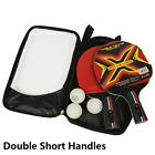 1 Pairs of Training Table Tennis Racket Double Reverse Glue +3 Table Tennis +Bag