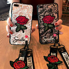 NEW Retro Lace Rose Flower WIth Lanyard Slim Cover Case For Iphone X 8 7 6s Plus