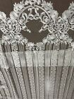 OFF-WHITE GORGEOUS EMBROIDERED FLORAL BRIDAL DRESS MESH LACE FABRIC