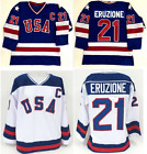 21 Mike Eruzione 1980 Miracle On Ice USA Hockey Jersey WHITE and Blue S 2XL