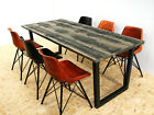 Industrial kiln dried board dining table U frame - distressed grey