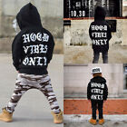 US Stock Fashion Toddler Kids Baby Boys Hooded Tops Camo Pants Outfits 2PcsSet