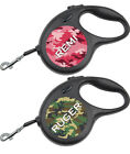 Camo Retractable Dog Leash Personalized For Your Pet, Attaches to any Dog Tag