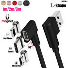 L Bending Magnetic Charger Cable Android/iOS 1~3M Data Sync Charging Cord Lot