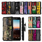 Rugged Heavy Duty Case w/Stand + Holster Clip Cover for T-Mobile REVVL PLUS