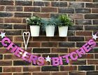 CHEERS BITCHES BANNER ENGAGEMENT PARTY HEN DO BUNTING BRIDE TO BE HOLOGRAPH PINK
