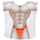 Flame Fire Thong Muscle Guy Swimsuit Bathing Suit Bikini Cover Up T-Shirt Tee