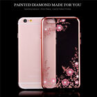 For iPhone 6 7 plus Floral Print Shockproof TPU Soft Gel Bling Case Bumper Cover