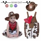 Nyan Cat Baby boy romper costume infant toddler cowboy clothing set 3pcs hat+sca