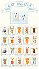 Woodland Animals Fox owl loot bag party favour swing tags labels birthday favors