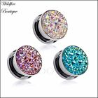Pair 3 Colours Unicorn Rainbow Aura Crystal Cluster Ear Tunnels Plugs 8-16mm
