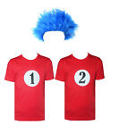 Kids Blue Wig Thing 1 Thing 2 Red T-Shirt World Book Day Fancy Dress Costume