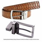New Mens 2 Sided Reversible Animal Skin Tooling Genuine Leather Belts S-3XL