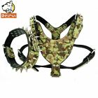 Camouflage Amy Dog Collar and Harness Set Durable Adjustable Spiked Studded Leat