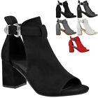Ladies Womens Block Mid High Heels Chunky Sandals Open Toe Party Shoes Size New