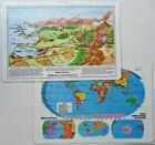 "NEW Spanish Version Laminated Geography Terms World US Maps 18""x12"" Desk or Wall"