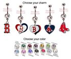 MLB BOSTON RED SOX AUTHENTIC LOGO CHARM DANGLE NAVEL BELLY BUTTON RING!
