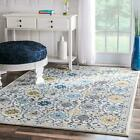 nuLOOM Traditional Floral Bordered Rug in Grey, Ivory, Blue, Yellow Multi