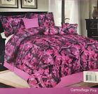 7pc Pink Camouflage Comforter Set Brown and Forest Green in King Queen & Twin