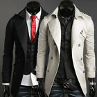 NEW Mens Casual Slim Fit Trench Coat Jacket Outerwear Overcoat Double Breasted