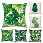 Green Leaf Linen Cushion Covers Waist Throw Pillow Case Car Sofa Home Decor 18""
