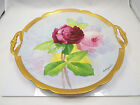 Antique Hand Painted Limoges Coronet Red & Pink Roses Charger or Cake Plate