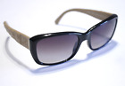 Chanel Sunglasses 5201 Black Rectangular Tan Quilted Leather Arms 56mm