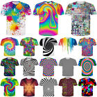 Xmas Women/Men Colorful Tie-Dye Hypnosis Funny 3D Print Casual T-Shirt Short Tee